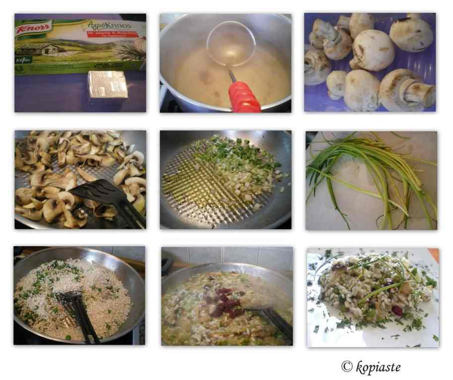 Collage Risotto with Mushrooms and Peas
