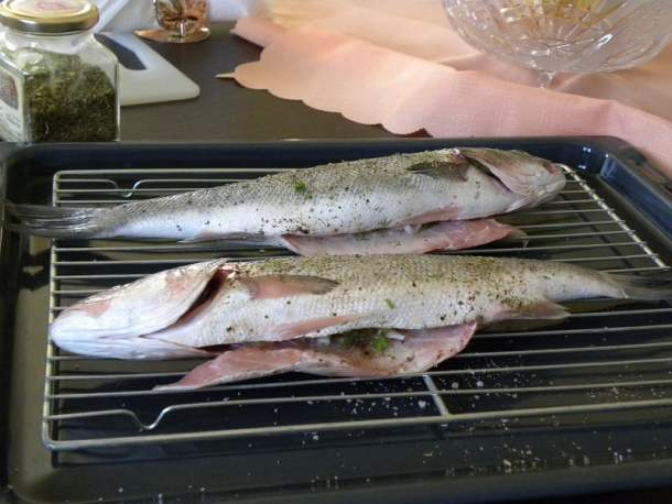 Lavraki psito sea bass ready to be grilled image