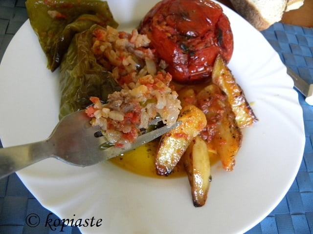 Gemista with sausage