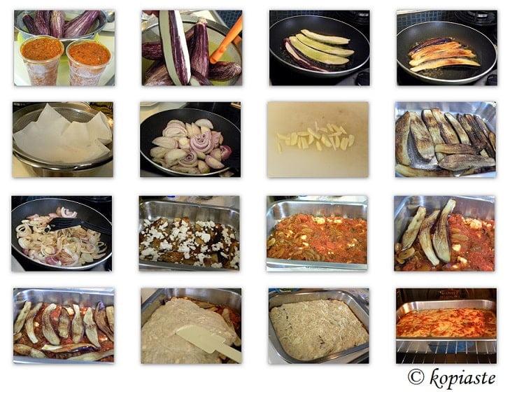 Collage Eggplant Casserole with Feta and Mozzarella