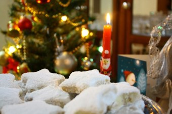 Christmas kourabiedes with candle image