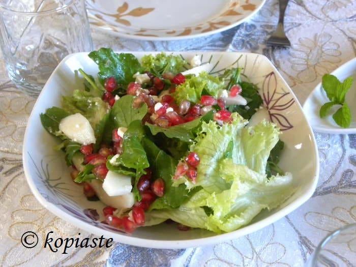 Rocket, Pear, Pomegranate and Feta Salad