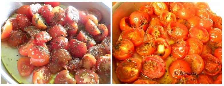 collage Roasting cherry tomatoes