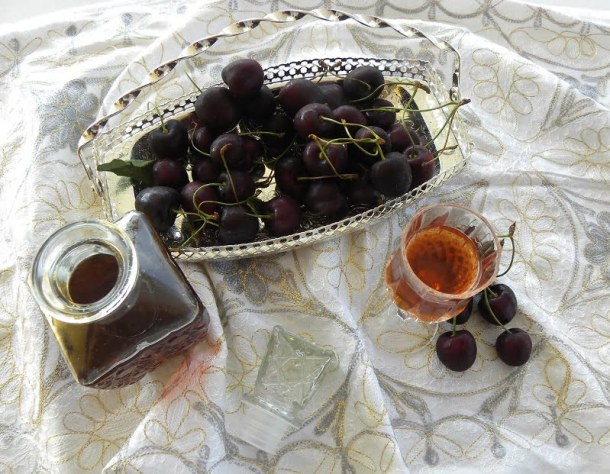 Cherry Liqueur in a bottle and glass picture