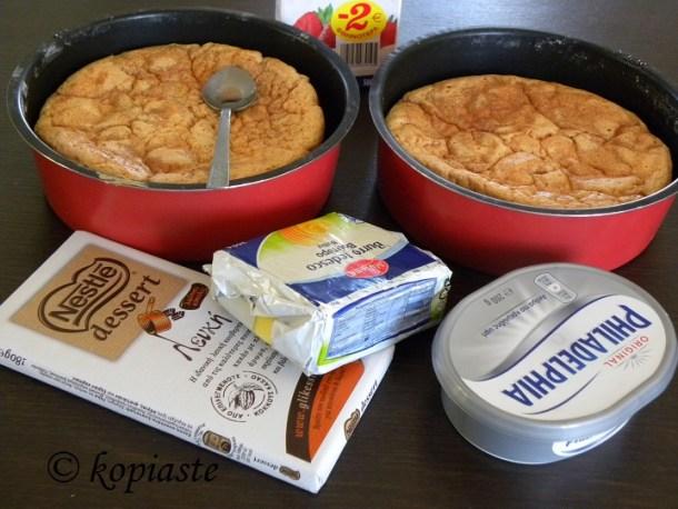 Sponge cake and ingredients