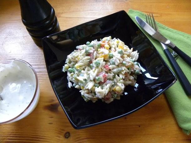 Orzo salad with garlic sauce image