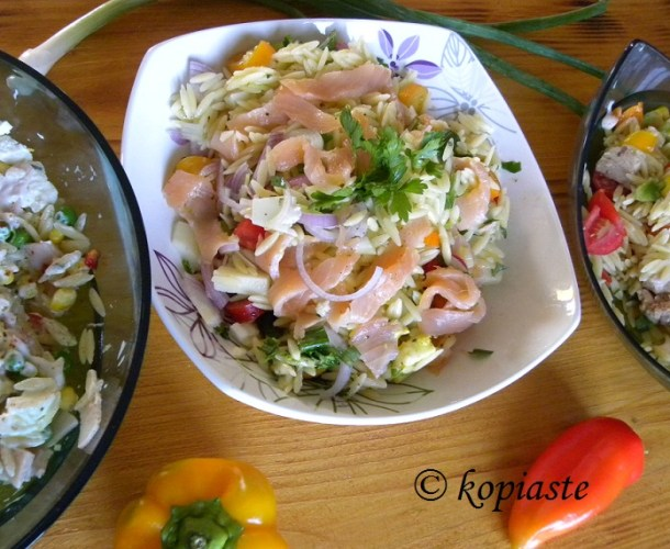 Salmon and orzo salad