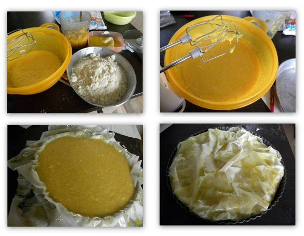 collage Portokalopita orange phyllo pie