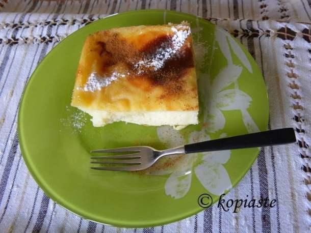Galatopita with icing sugar and cinnamon