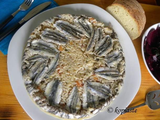 Gavros baked anchovies risotto