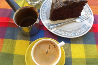 chocolate mayonnaise cake with cappuccino -glaze image