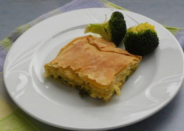 Kolokythopita with broccoli