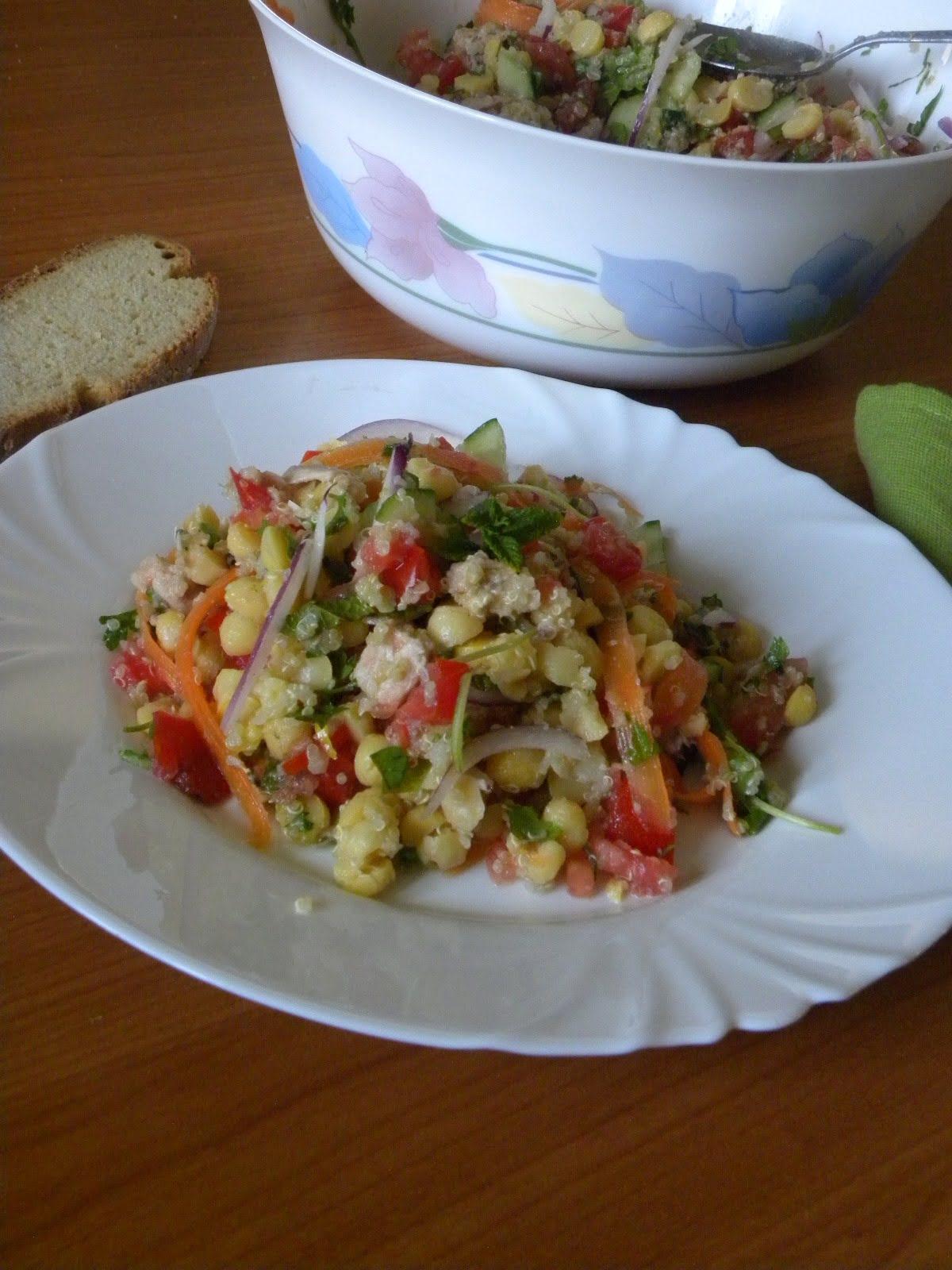 Greek Vegan Chickpea Salad With Quinoa & Tahini Sauce