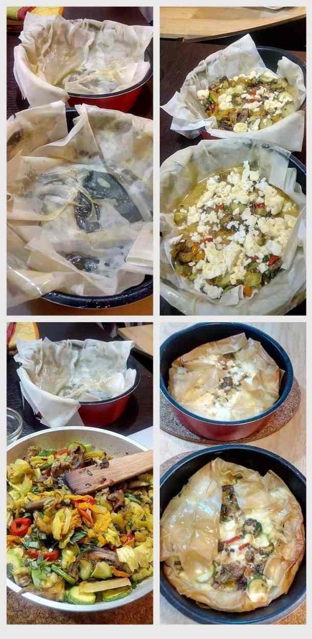 Collage Open faced zucchini pie