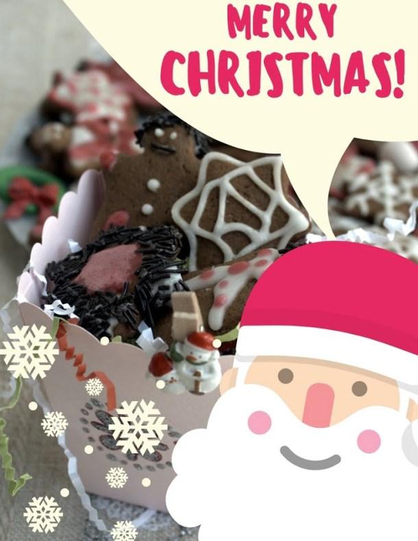 Gingerbread cookies Santa Christmas Greeting card image
