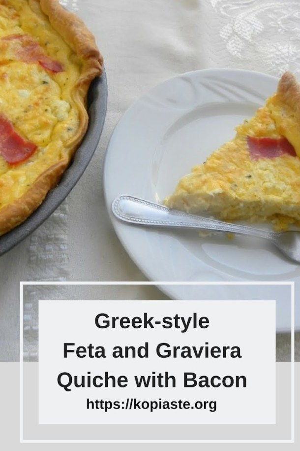 Greek-style Feta and Graviera Quiche with Bacon image