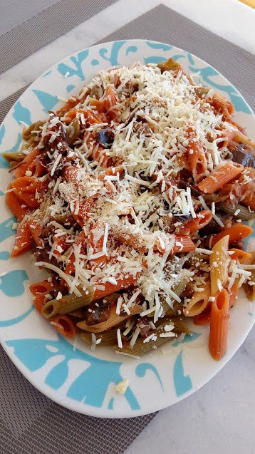 Penne tricolore with leftover imam image