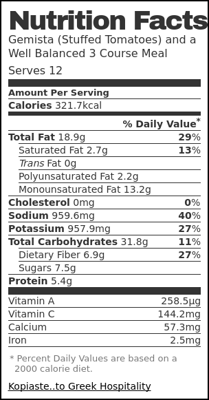 Nutrition label for Gemista (Stuffed Tomatoes) and a Well Balanced 3 Course Meal