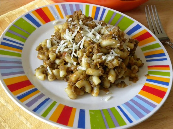 Greek Brown Lentils with Smoked Eggplant and Pasta