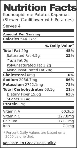 Nutrition label for Kounoupidi me Patates Kapamas (Stewed Cauliflower with Potatoes)