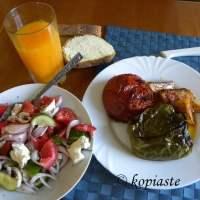 Gemista me Loukanika (Greek Stuffed Vegetables with Sausage)