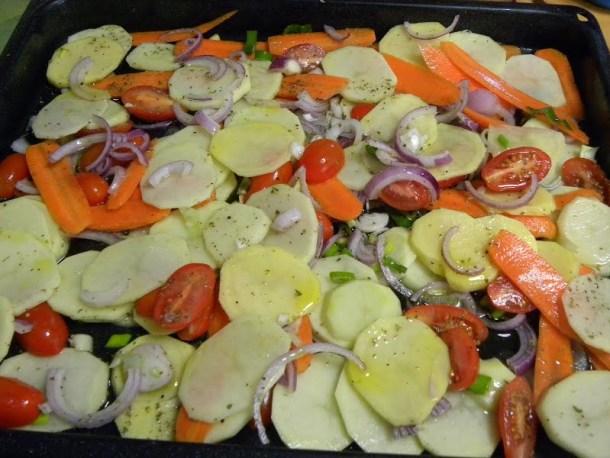 Vegetables before baking image