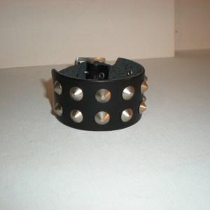 Bracelet Cuir Noir avec 2 rangs de Cônes