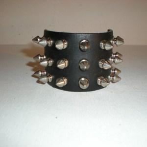Bracelet Cuir Noir avec 3 Rangs de Pointes