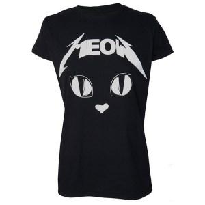 T-shirt Metal Meow Noir