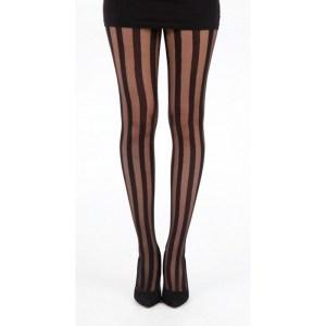 Collant Noir Rayures Stripes Haute Qualité