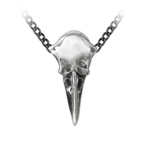 Pendentif Crâne Corbeau en Etain avec Chaîne