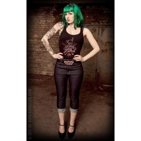 Débardeur noir Femme Fatale rumble59, rockabilly, psychobilly, rockwear