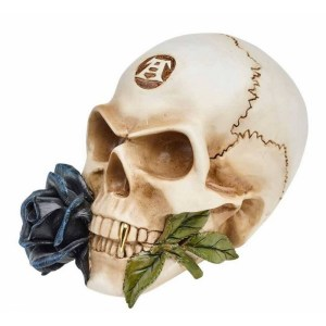 Crâne avec Rose Noire en Résine