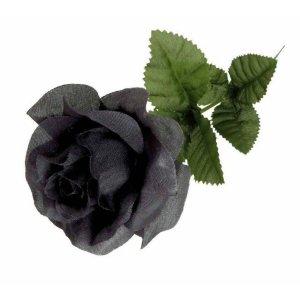 Rose Noire Artificielle en Tissu
