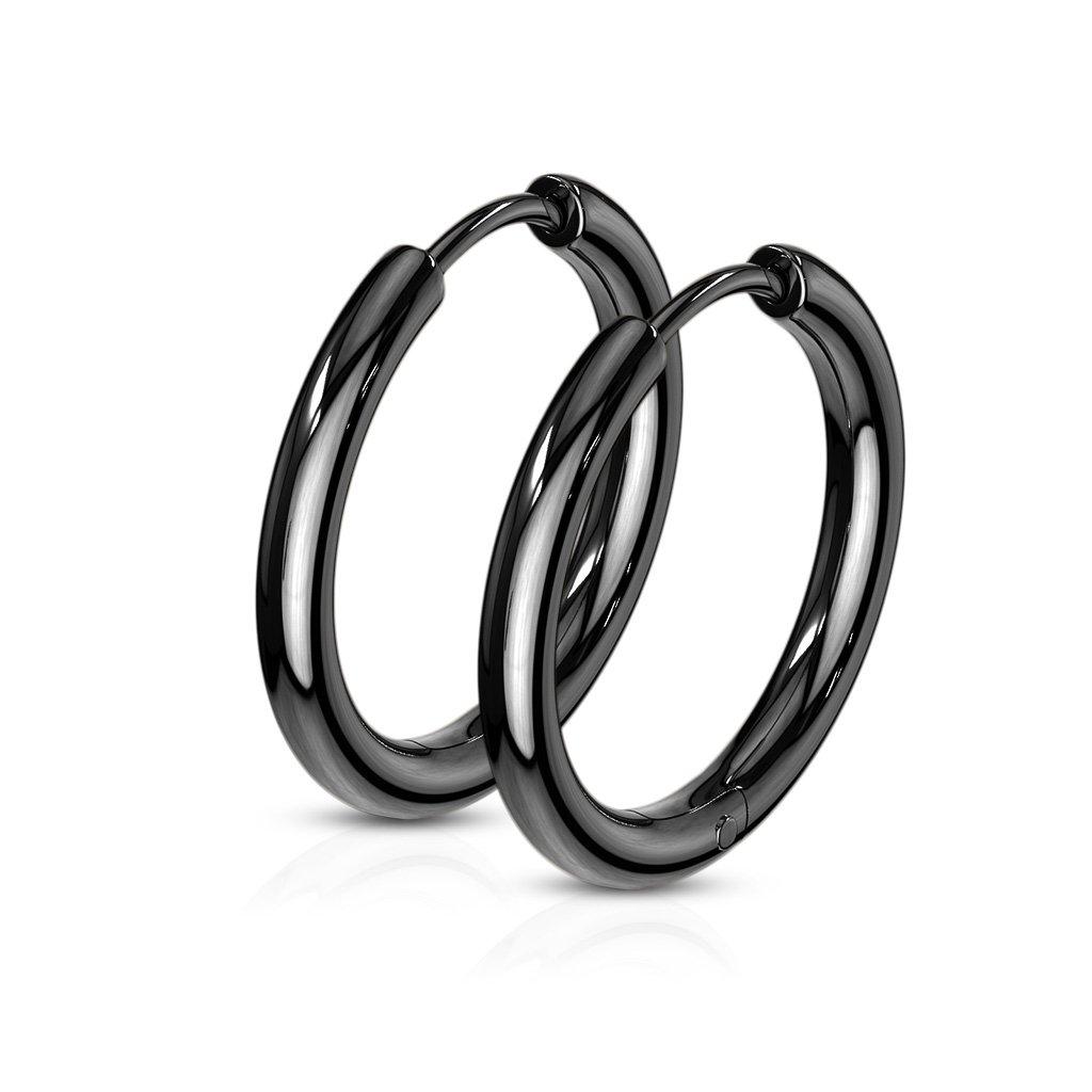 anneaux pour oreilles noirs 12mm