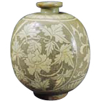 Buncheong flask with peony design (Joseon Dynasty)