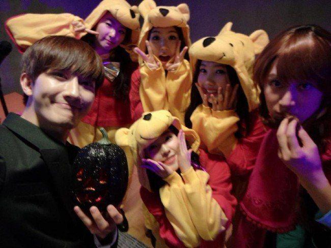 Luna, Zhoumi at Red Velvet, Heechul, Zhoumi at SM Halloween Party 2014