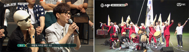 "Left: tvN's ""Melody to Masterpiece"" features a competition to rearrange existing songs. Right: Mnet's ""Pan Stealer"" is focused on gugak, traditional Korean music. [SCREEN CAPTURE]"