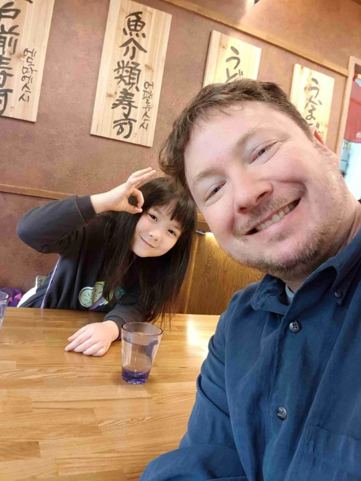 Jian and I checking out the Japanese restaurant