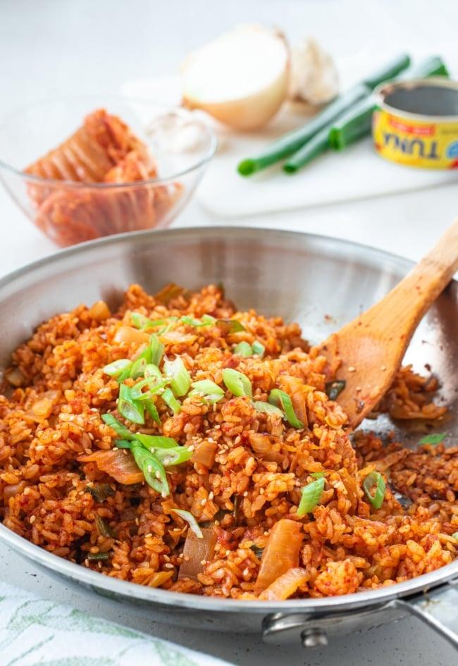 Korean kimchi fried rice in a skillet