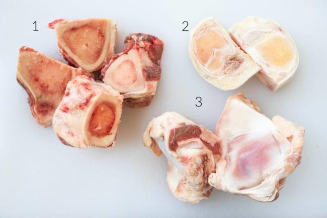 3 different cow bones cut up