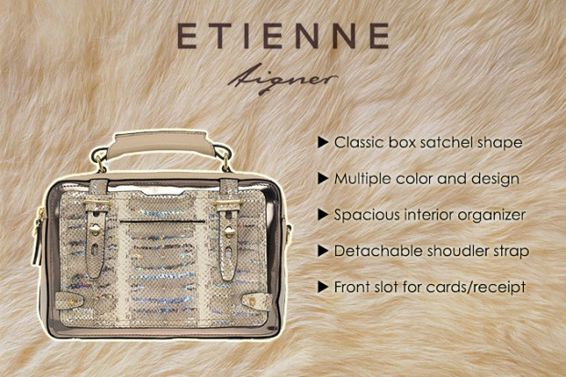 etienne aigner pewter stag bag