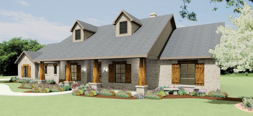 Texas Hill Country Ranch S2786L   Texas House Plans   Over 700     Front Elevation