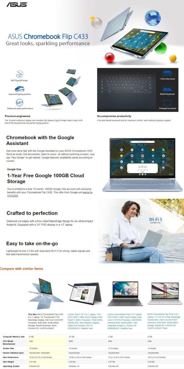 ASUS Chromebook Flip C433 2 in 1 Laptop