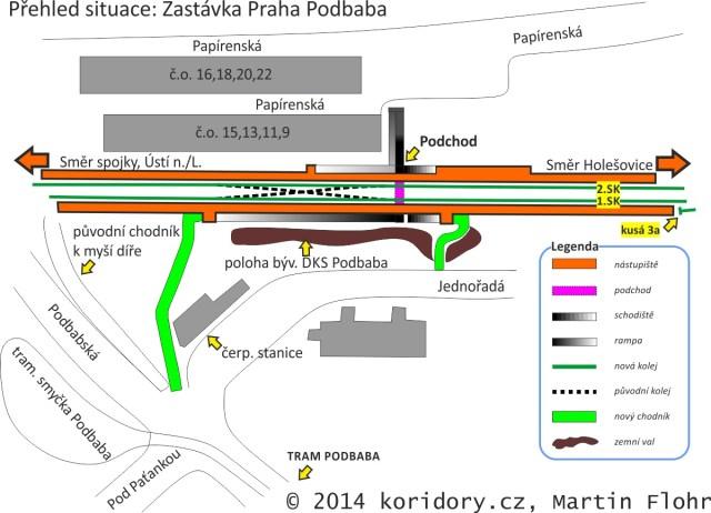 situace zastávky Praha Podbaba