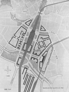 Návrh nového osobního nádraží s regulací města, městské regulační oddělení, 1943