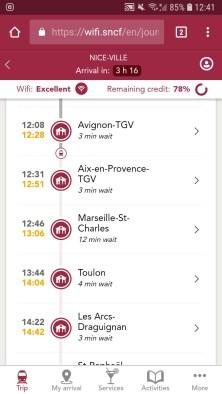 Cesta Basilej - Marseille TGV Mobilní palubní informační systém (Autor: Luboš Sládek, koridory.cz)