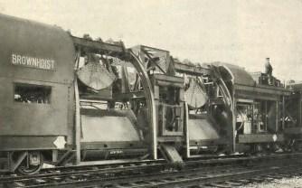Obr.2. - První pracovní vůz vlaku na strojní výměnu štěrkového lože (Vynálezy a pokroky č.15/1929).