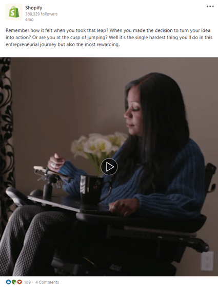 Close up of LinkedIn post with a sad girl sitting
