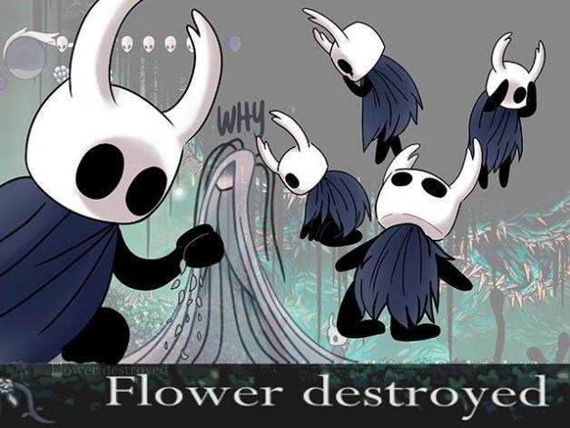 Flor Delicada y Doliente Gris de Hollow Knight